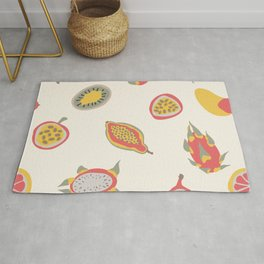 Abstract fruits boho composition in modern nude colors. Mid century modern pattern Rug