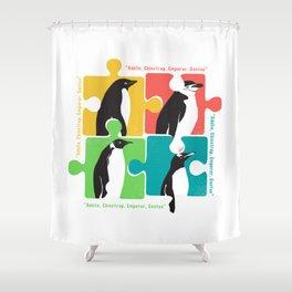 Penguin Adélie Chinstrap Emperor Gento Autism Shower Curtain
