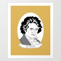 beethoven Art Prints featuring Beethoven by Julie Gough
