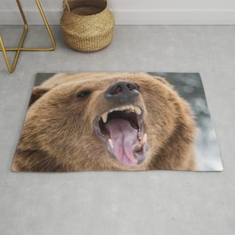 Majestic Scary Giant Grown Grizzly Bear Roaring Open Jaws Close Up Ultra HD Rug