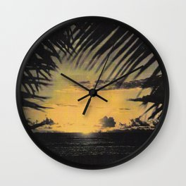 Hawaiian Sunset on Waikiki Beach Vintage Photo Wall Clock
