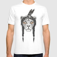 Warrior lion White Mens Fitted Tee MEDIUM