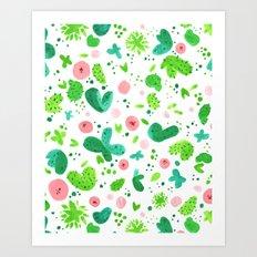 Cute Cacti Painted Pattern Art Print