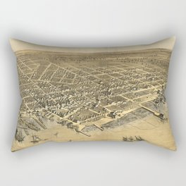 Vintage Pictorial Map of Muskegon Michigan (1868) Rectangular Pillow