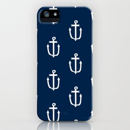 Anchor nautical navy and white modern trendy basic pattern print anchors pattern iPhone Case