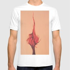 Flaming Tree Mens Fitted Tee MEDIUM White