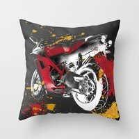 ducati Throw Pillows featuring Ducati 1098 Color Spots by Larsson Stevensem