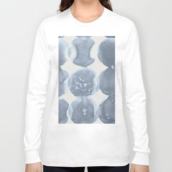 Shibori Wabi Sabi Indigo Blue on Lunar Gray Long Sleeve T-shirt