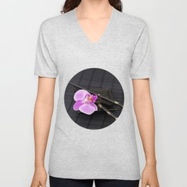 Zen pink Orchid flower on black Unisex V-Neck