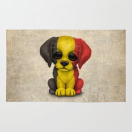 Cute Puppy Dog with flag of Belgium Rug
