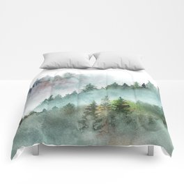 Watercolor Pine Forest Mountains in the Fog Comforters