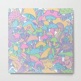 Magical Mushroom World in Kawaii Pastel Metal Print