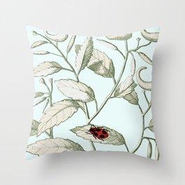 Noli me tangere- ladybird on leaf Throw Pillow