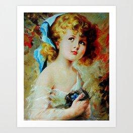 Girl with bird nest Art Print
