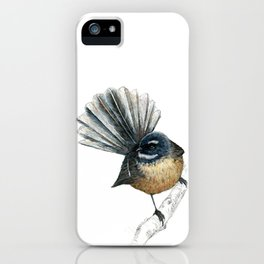 Mr Pīwakawaka, New Zealand native bird fantail iPhone Case