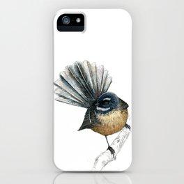 Mr Pīwakawaka, New Zealand native bird fantail iPhone Case