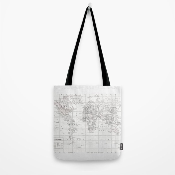 World Map ~ White on White Tote Bag
