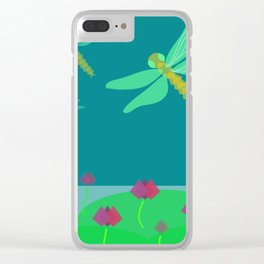 dragonfly above lotus pond Clear iPhone Case