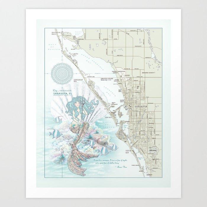 "Sarasota ""Anais Nin"" Mermaid quote area map Kunstdrucke"