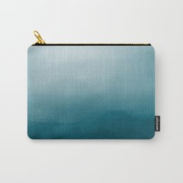 Tropical Dark Teal Inspired by Sherwin Williams 2020 Trending Color Oceanside SW6496 Watercolor Ombre Gradient Blend Abstract Art Carry-All Pouch