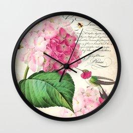 Hummingbird with hydrangea Wall Clock