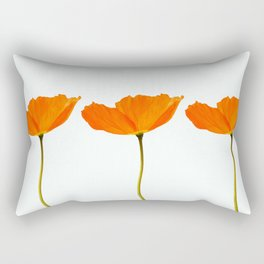 Three Orange Poppy Flowers White Background #decor #society6 #buyart Rectangular Pillow