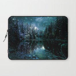 Winter Wonderland Forest Green Teal : A Cold Winter's Night Laptop Sleeve
