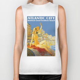 Atlantic City New Jersey - Retro Travel Biker Tank