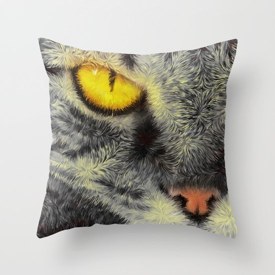 Gato Loco Throw Pillow