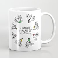 tour de france Mugs featuring Yorkshire Tour de France Grand Départ IV by Holly Fisher@SpenceCreative