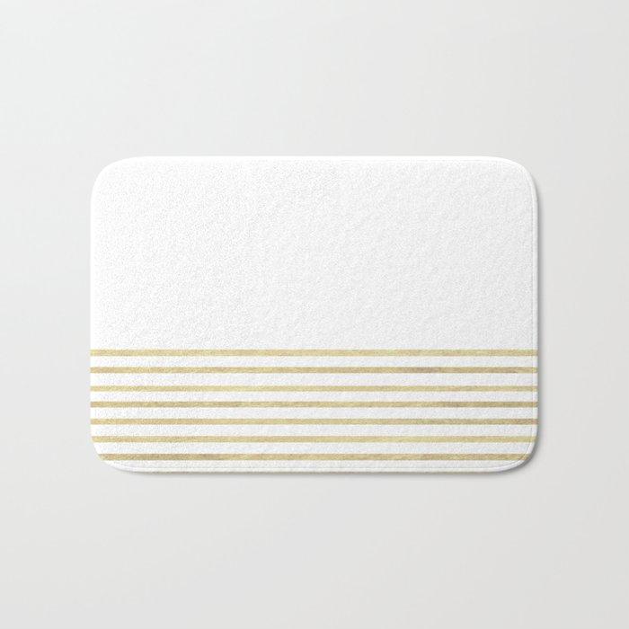 White and Gold Stripes Bath Mat