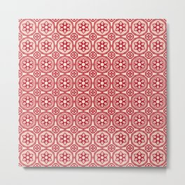 African Tribal Style Hexagon Motif Pattern Red and Beige Metal Print
