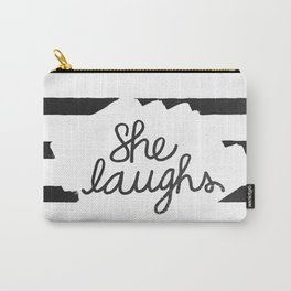 She Laughs -Proverbs 31:25 (Black and White) Carry-All Pouch