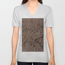 Cocoa Brown Tooled Leather Unisex V-Neck