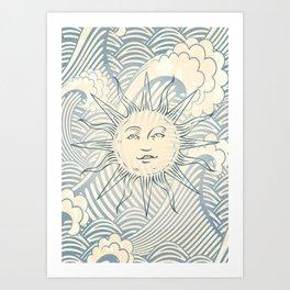 Sun sitting amongst the ocean Art Print