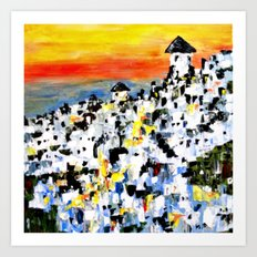 Abstract Santorini, Greece Landscape Art Print