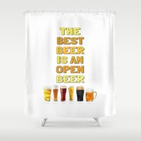 beer Shower Curtains featuring Beer by the lazy pigeon