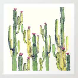 vertical cactus Art Print
