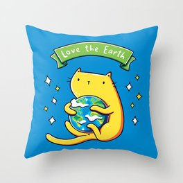 Earth Lover Cat Throw Pillow