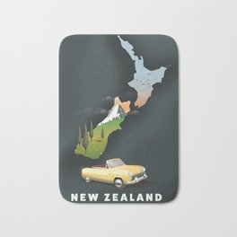 New Zealand travel poster Bath Mat