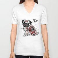 anatomy V-neck T-shirts featuring Pug Anatomy by Huebucket