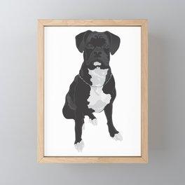 The Black & White Boxer Framed Mini Art Print