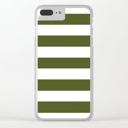 Army green - solid color - white stripes pattern Clear iPhone Case