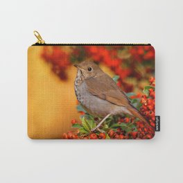 Hermit Thrush on the Scarlet Firethorn Carry-All Pouch