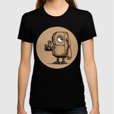 Robot Espresso #1 Womens Fitted Tee Black LARGE