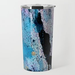 Breathe [3]: colorful abstract in black, blue, purple, gold and white Travel Mug
