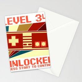 Retro Level Unlocked 34th Birthday Gift Idea Stationery Cards