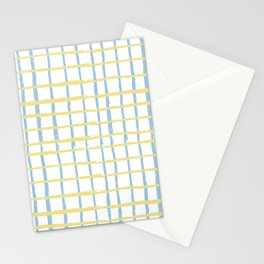 Pastel yellow teal watercolor geometrical checker stripes Stationery Cards