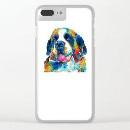 Colorful Saint Bernard Dog by Sharon Cummings Clear iPhone Case