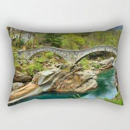 Ponte dei Salti, Lavertezzo, Switzerland, River Verzasca Roman Arched Bridge photograph by Martin Chiang Rectangular Pillow